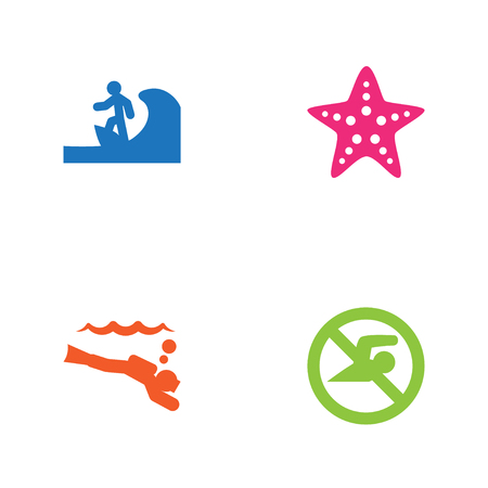 Collection Of Surfing, No Swimming Sign, Starfish And Other Elements.  Set Of 4 Coast Icons Set. Illustration