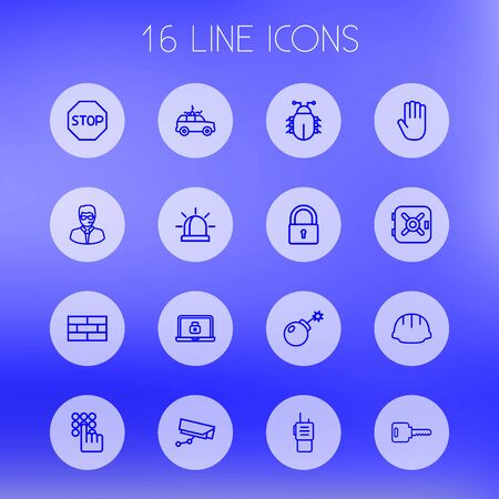 Set Of 16 Safety Outline Icons Set.Collection Of Open, Lock, Virus And Other Elements. Vetores