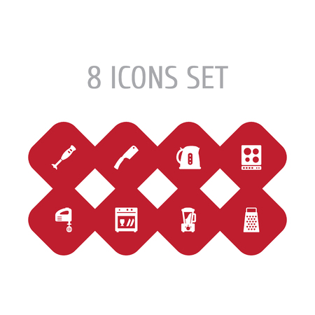 Set Of 8 Kitchen Icons Set.Collection Of Kitchen Ax, Slicer, Mixer And Other Elements.