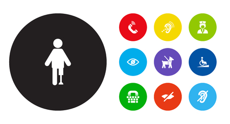Set Of 10 Disabled Icons Set.Collection Of Artificial Limb, Listening Device, Blindness And Other Elements.