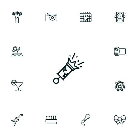 Collection Of Party, Cocktail, Microphone And Other Elements.  Set Of 13 Cocktail Outline Icons Set.