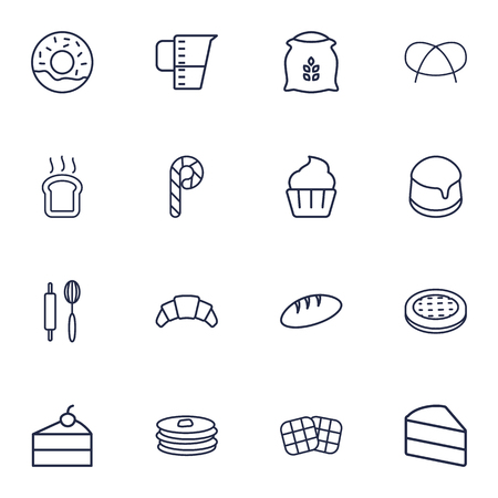 Collection Of Toast, Waffle, Pretzel And Other Elements.  Set Of 16 Pastry Outline Icons Set.