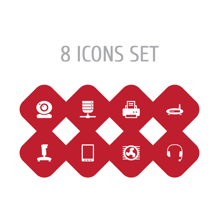 Collection Of Joystick, Router, Datacenter And Other Elements.  Set Of 8 Notebook Icons Set.