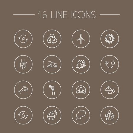 Set Of 16 Atmosphere Outline Icons Set.Collection Of Landscape, Renewable Energy, Nature Elements.