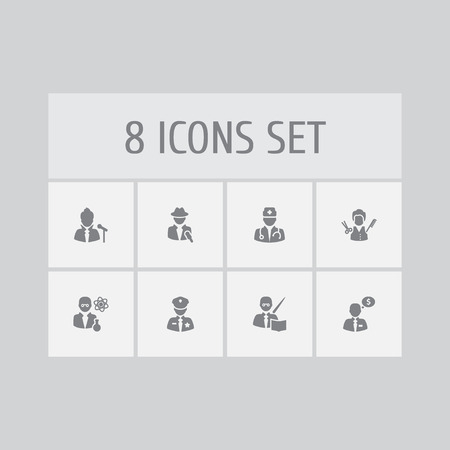 Collection Of Stylist, Money Agent, Journalist And Other Elements.  Set Of 8 Position Icons Set.