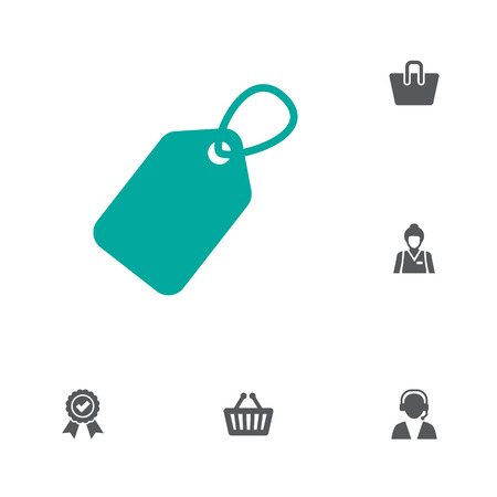 Set Of 6 Shopping Icons Set.Collection Of Label, Seller, Bag And Other Elements.