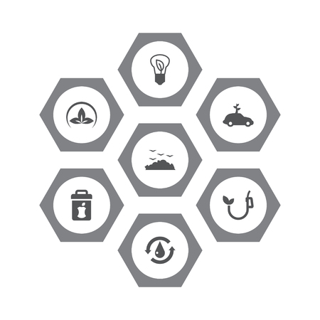 Set Of 7 Atmosphere Icons Set.Collection Of Rubbish, Treatment, Car And Other Elements.