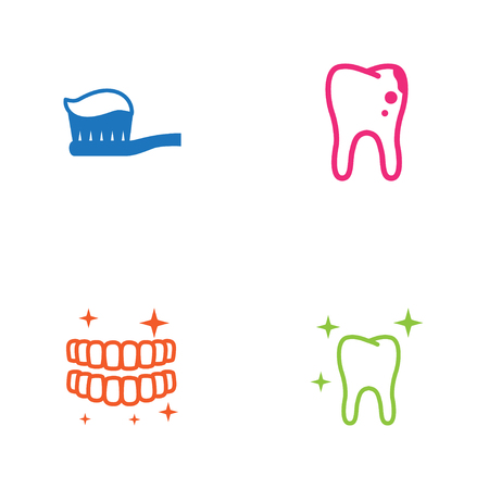 Set Of 4 Dental Icons Set.Collection Of Toothpaste, Clean, Decay And Other Elements.
