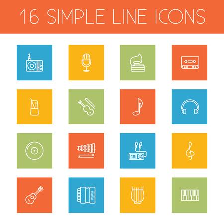 Conjunto de 16 ícones de contorno de música definida. Coleção de sinal musical, amarrado, acústico e outros elementos. Ilustración de vector