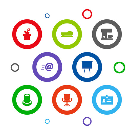 Set Of 8 Workspace Icons Set.Collection Of Flower, Data, Espresso And Other Elements.