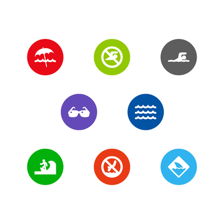 Set Of 8 Coast Icons Set.Collection Of Wave, Surfing, Umbrella And Other Elements. Illustration