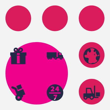Set Of 6 Cargo Icons Set.Collection Of World, Transportation, Service And Other Elements. Illustration