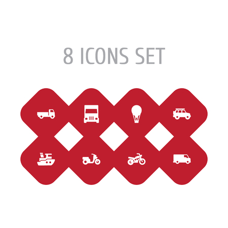 Set Of 8 Shipping Icons Set.Collection Of Lorry, Airship, Scooter And Other Elements. Illustration