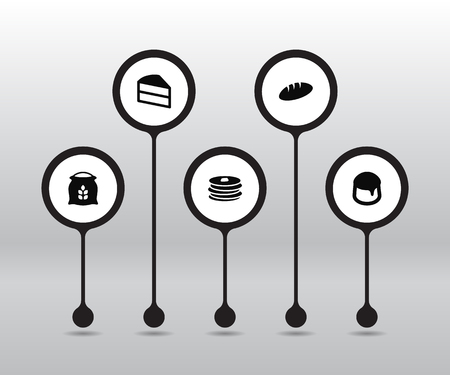 Set Of 5 Pastry Icons Set.Collection Of Sack, Custard, Pastry And Other Elements.