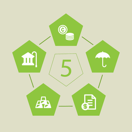 Set Of 5 Budget Icons Set.Collection Of Ingot, Pension Funds, Umbrella And Other Elements.