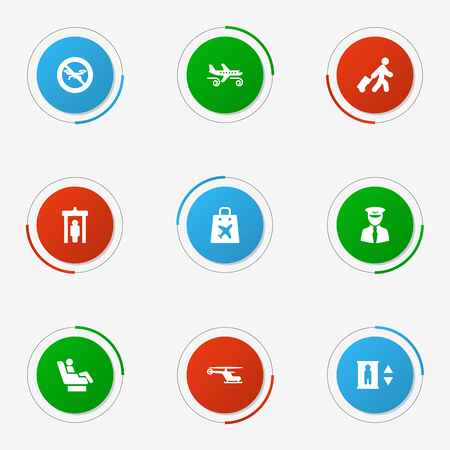 Set Of 9 Airplane Icons Set.Collection Of Baggage, Gustiness, Vip And Other Elements.