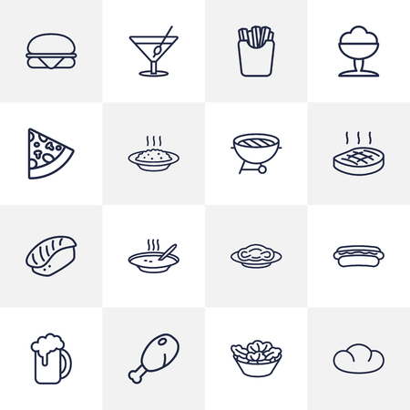 Set Of 16 Eat Outline Icons Set.Collection Of Beer, Steak, Japanese Roll And Other Elements.