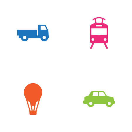 Set Of 4 Transport Icons Set.Collection Of Streetcar, Lorry, Side View And Other Elements.