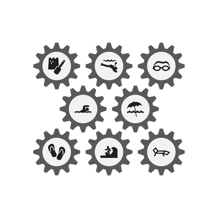 Set Of 8 Beach Icons Set.Collection Of Flip Flop, Umbrella, Scuba Diving And Other Elements.