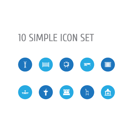 Set Of 10 Decor Icons Set.Collection Of Coat Stand, Sink, Bedroom Elements.