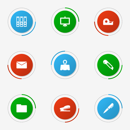 web directories: Set Of 9 stationary icon. Illustration