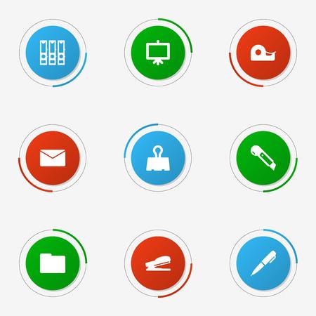 Set of 9 stationary icon.