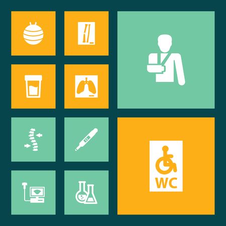 Set of 10 medical condition icons.