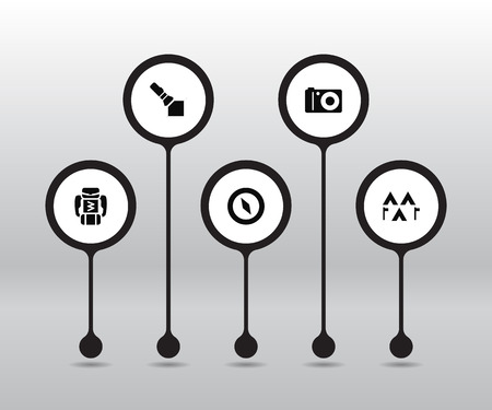 Set of 5 outdoor activities icons.