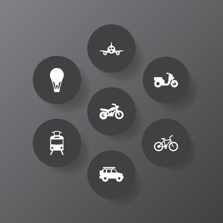Set Of 7 traffic related icon. Illustration