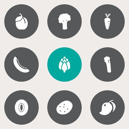 Set Of 9 fruits icon.