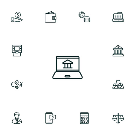 Set Of 13 Finance Outline Icons Set.Collection Of Golden Bars, Coins, Justice And Other Elements.