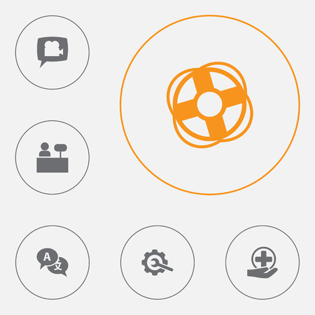 Set Of 6 Maintenance Icons Set.Collection Of Translate, Gear, Blog And Other Elements.