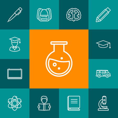 Set Of 13 Education Outline Icons Set.Collection Of Microscope, Backpack, Brain And Other Elements.