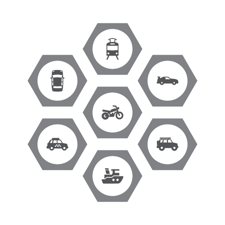 Set Of 7 Traffic Icons Set.Collection Of Panorama, Streetcar, Taxicab And Other Elements. Illustration