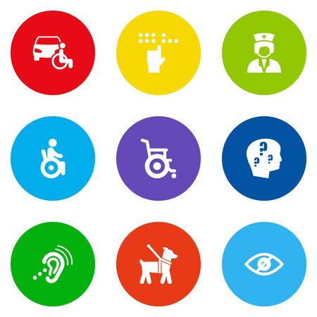 Set Of 9 Accessibility Icons Set.Collection Of Assistance, Blindness, Listening Device And Other Elements.