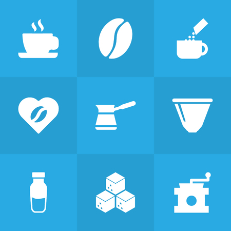Set Of 9 Coffee Icons Set.Collection Of Saucer, Heart, Ibrik And Other Elements.