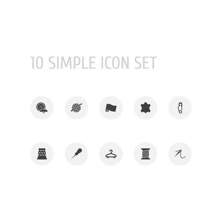 Set Of 10 Stitch Icons Set.Collection Of Bodkin, Spool, Tailor And Other Elements.