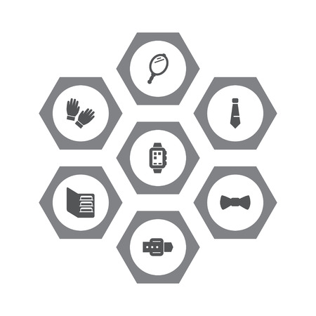 Set Of 7 Accessories Icons Set.Collection Of Necktie, Smart Watch, Looking-Glass And Other Elements.