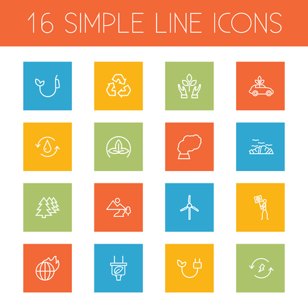 Set Of 16 Ecology Outline Icons Set.Collection Of Ecol, Recycling, Plug And Other Elements. Ilustrace