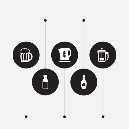 Set Of 5 Drinks Icons Set.Collection Of Pot, Alcohol, Electric Teapot And Other Elements. 向量圖像