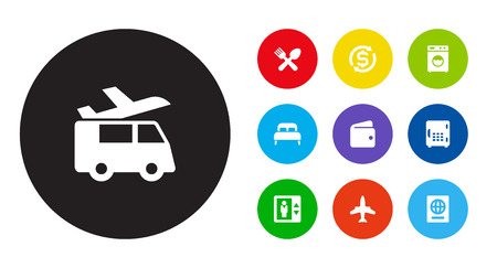Set Of 10 Travel Icons Set.Collection Of Lift, Washer Machine, Transportation And Other Elements.