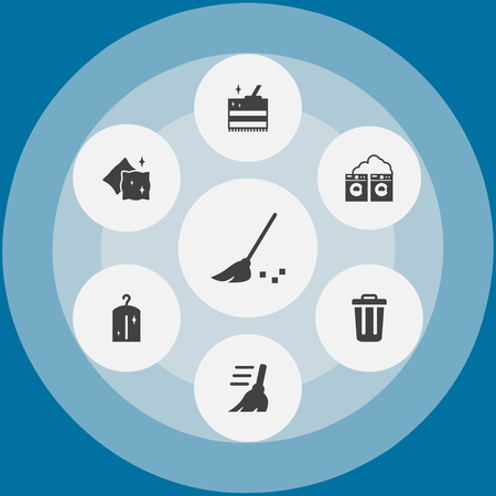 Set Of 7 Cleanup Icons Set.Collection Of Clothes, Cushion, Washhouse And Other Elements.