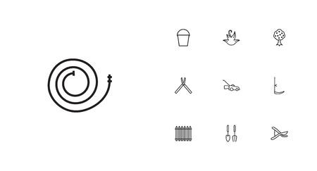 악기, 정원, 양동이 및 다른 요소의 10 원예 개요 아이콘 Set.Collection의 집합입니다.