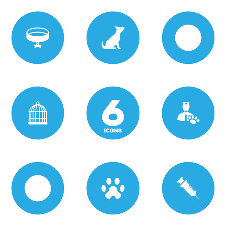 Set Of 6 Animals Icons Set.Collection Of Neckband , Footprint , Dog Elements.