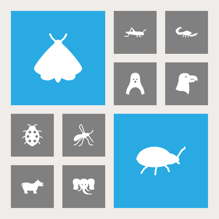 Set Of 10 Zoo Icons Set.Collection Of Diver, Trunked Animal, Mantis And Other Elements. Illustration