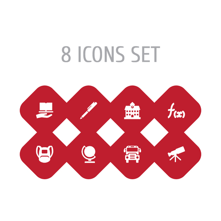 Set Of 8 School Icons Set.Collection Of Writing, Formula, Globe And Other Elements. Illustration