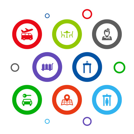 Set Of 8 Plane Icons Set.Collection Of Airport Gate, Restaurant, Metal Detector And Other Elements. Illustration