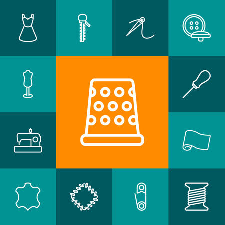 Set Of 13 Tailor Outline Icons Set.Collection Of Dress, Leather, Needle And Other Elements.