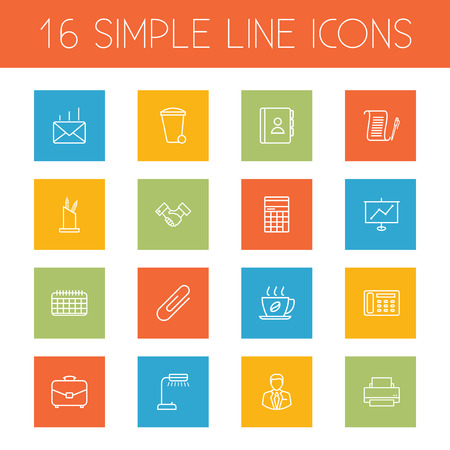 Set of simple line icons
