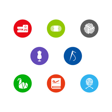 Set of handcraft icons flat and isolated on white background